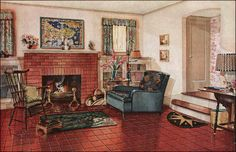 1928 Armstrong Traditional Living Room - 1920s Colonial Style - Red, Blue, & Gold Scheme on a Neutral Background