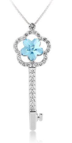 Key with Flower Shape Pendant Necklace Swarovski crystals Rhodium plating #UPSERA #KeyPendant