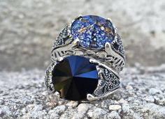 Sterling Silver Gothic Ring with SWAROVSKI by ApplebiteJewelry Γοτθικά  Κοσμήματα 90d4a6bcc48