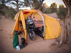 Tent for camping and Motorcycle