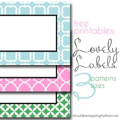 Free printable labels. Love the patterns! Use Worldlabel Full Sheet Labels to print on and cut: http://www.worldlabel.com/Pages/wl-ol175.htm