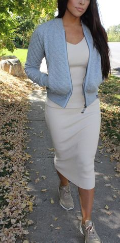 Sarah and Elizabeth: Love @onepiece quilted grey melange bomber jacket with the nude v-neck midi ribbed sweater dress and Nike tan Thea sneakers. Fall Winter 2015 Fashion Inspiration. Blogger @sarahnelizabeth