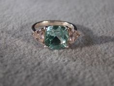 Vintage Sterling Silver Rectangle Apatite 2  Trillion Pink Topaz  Fancy   Art Deco Style Band Ring, Size 5. $49.00, via Etsy.