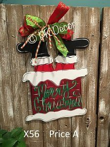 X56 - Santa Chimney Door Hanger - Custom Christmas Door Hanger & Santa in the Chimney Christmas Door Hanger . Custom Monogram. Wooden ...