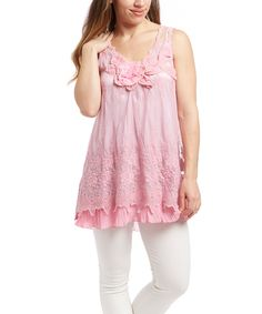 Another great find on #zulily! Pretty Angel Pink Floral Silk-Blend Tunic by Pretty Angel #zulilyfinds