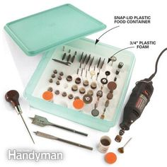 This rotary-bit organizer may just inspire a renaissance of rotary tool use in your shop. Friction-fit a piece of 3/4-in. plastic foam in a snap-lid plastic food container. Then poke holes in the plastic foam with an awl to hold shafted bits, and slice crevices with a utility knife to hold cutoff discs. Using a spade bit at high speed, drill sockets for larger bits and tube-shape containers. Once your bits are in order, you can rediscover how useful they can be.