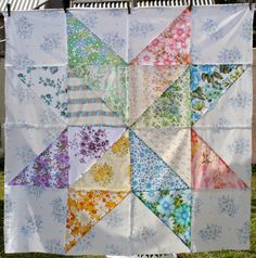 Amelie and Atticus: Massive Vintage Sheet Star Quilt Block---Great idea to use the sheets I've collected!