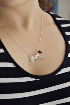 Running Spaniel Necklace Liver and White by BattlekatsBoutique