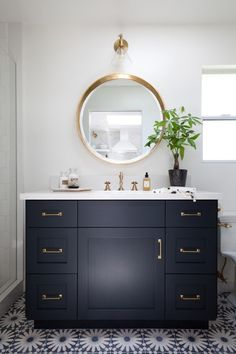 Modern bathroom tile floors, dark cabinets and golden fixtures. - Modern bathroom tile floors, dark cabinets and gold fixtures How to make your home … # - Modern Bathroom Tile, Bathroom Floor Tiles, Bathroom Renos, Master Bathroom, Bathroom Renovations, Bathroom Black, Bathroom Mirrors, Modern Bathrooms, Budget Bathroom