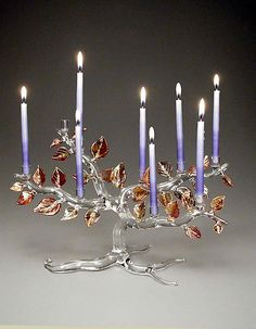 """Tree of Life Menorah, Autumn Leaves"" Art Glass Menorah Created by Bandhu Scott Dunham"
