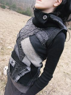 Sleeveless sweater, high collar, hood, recycled, nomadic, black/gray. $173.00, via Etsy.