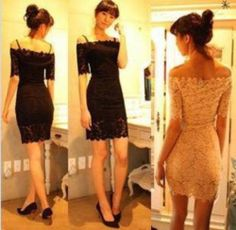 Rehearsal Dinner? Cheap Women Off Shoulder Short Sleeve Strapless Lace Mini Dress Cocktail Prom