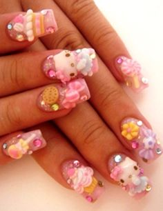 Hello Kitty 3D Nails..Cute!!