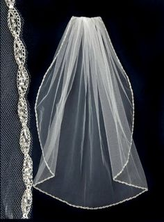 A woven marquise pattern of silver thread is accented with silver lined seed beads in this stunning wedding veil. It is 40 inches long (fingertip length) and 72