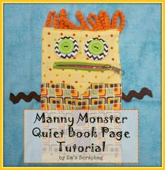 Manny Monster Quiet Book Page