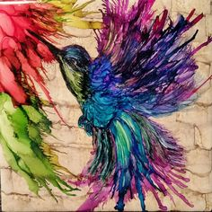 """22 Likes, 1 Comments - tina stensland (@tmstensland) on Instagram: """"Humming bird do over in alcohol ink on tile. Didn't care for the eye on the first one. This makes…"""""""