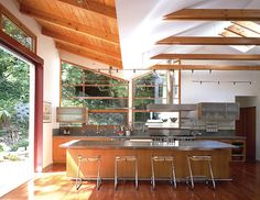 Modern Industrial Kitchen Design Ideas, Pictures, Remodel and Decor Glass Kitchen Cabinets, Kitchen Cabinet Design, Long Kitchen, Kitchen On A Budget, Open Kitchen, Kitchen Reno, Kitchen Ideas, Rustic Canyon, Industrial Kitchen Design