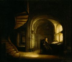 Philosopher with an Open Book by Rembrandt #paintings