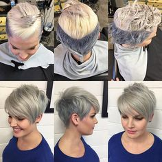You can count on every 6 weeks seeing this gal in my feed cuz she's so dang cute and let's me be an artist on her head. Her two toned #pixie was my inspo for the #lilac I just posted. #ice on top and #titanium on bottom. #nothingbutpixies #shorthair #shorthairgirls #shorthairstyles #joico #blondemetoners #behindthechair #kaaral #baco #americansalon #modernsalon #hashtagpixiecuts #texture #razorcut #shorthairinspo #emilyandersonstyling