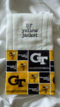Embroidered Georgia Tech Burp Cloth by FancyPantsGifts on Etsy, $10.00