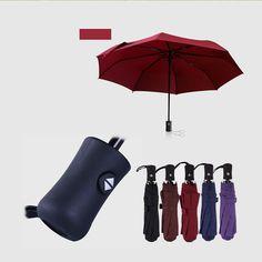New Three Folding big rain Ladies Fully-automatic Aluminium Alloy Pongee strong Frame inverted Women's umbrella parasol #Affiliate