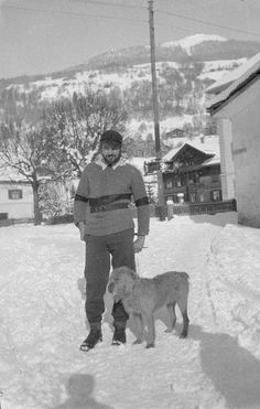 Ernest Hemingway with a dog, in Schruns, Austria, Winter, Hemingway and his first wife loved Austria Pauline Pfeiffer, Hadley Richardson, Earnest Hemingway, Living In Europe, James Joyce, Vintage Travel, Old Friends, The Past, Writers
