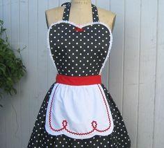 RETRO APRON  Lucy ... retro red black polka dot womens full apron flirty hostess gift vintage inspired flirty by loverdoversclothing on Etsy https://www.etsy.com/listing/87121734/retro-apron-lucy-retro-red-black-polka