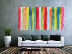 Abstraktes Acrylbild bunt modern viele Farben 100x200cm von xxl-art.de