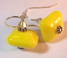 Bright Yellow Chunky Square Earrings  Handmade by VedasBeads, $15.00