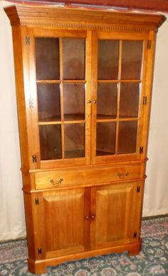 Vintage Jordan Furniture Co Walnut Corner China Cabinet, Bi-parting Doors
