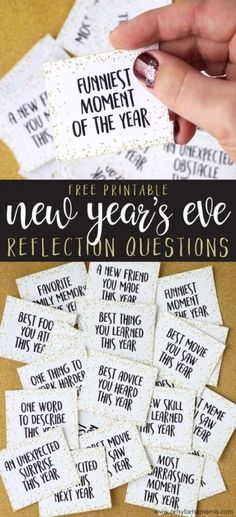 Free Printable New Year's Eve Reflection Questions Kostenlose druckbare Silvester Reflexion Fragen New Years Eve Games, Kids New Years Eve, New Years Eve Quotes, New Years With Kids, New Years Dinner, New Years Eve Party Ideas For Adults, New Years Tree, Happy New Years Eve, New Year's Eve Activities