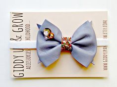 Leather Bow Headband - Lavender Leather with Sequins, Baby Bow Headband