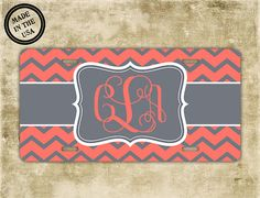 Monogrammed license plate  Coral chevron with gray - by PreppyCentral, $14.99
