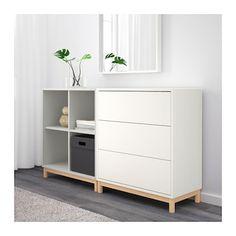 EKET Cabinet combination with legs White/light grey 140 x 35 x 80 cm - IKEA Ikea Shelves, Shelving, Living Room Grey, Interior Design Living Room, Ikea Bedroom, Bedroom Decor, Ikea Eket, Muebles Living, Cabinet