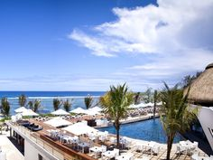 Poolside view overlooking the beach. Radisson Blu Poste Lafayette Mauritius