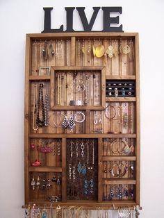 Jewelry Storage by barbwireandbarnwood on Etsy https://www.etsy.com/listing/187690670/jewelry-storage