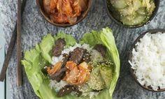 Koreansk rostbiff med kimchi och sesammarinerad gurka