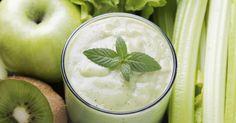Recette de Smoothie détox pommes, kiwis, céleri, menthe, miel et épices. Facile et rapide à réaliser, goûteuse et diététique.