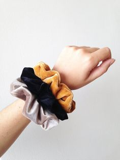 Beautiful set of 3 fabulous velvet scrunchies. A must have for this season! The scrunchie size is perfect for your wrist and for your hair of course! Scrunchies, Enchanted Jewelry, Velvet Scrunchie, Wie Macht Man, Gold Chains For Men, Velvet Hair, Ponytail Holders, Hair Jewelry, Women Jewelry