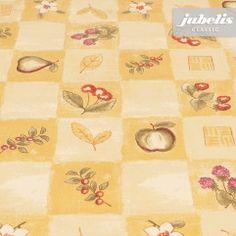 jubelis® karierte Tischdecke Wachstuch mit Vliesrücken Gerda gelb mit Früchten