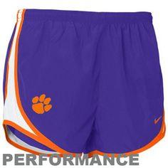 Nike Clemson Tigers Womens Tempo Performance Shorts - Purple