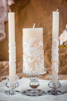 Karamell & Spitze Hochzeit Einheit Kerzen, rustikal schicke Hochzeit, Vintage chic, rustikale Hochzeit Ideen, Land, Hochzeit, Jahrgang Kerzenset, 3St