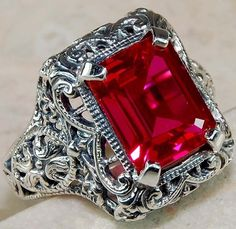 3CT Ruby 925 Solid Sterling Silver Art Nouveau Filigree Ring Sz 7 #OLDENGLISHSILVER