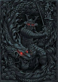 'Dragon Samurai' by Arte Ninja, Ninja Kunst, Ninja Art, Dragon Samurai, Samurai Warrior, Dragon Warrior, Japanese Artwork, Japanese Tattoo Art, Samourai Tattoo