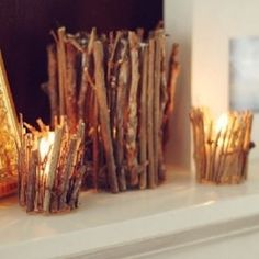 100 Cheap and Easy Fall Decor DIY Ideas - Prudent Penny Pincher Fall Wood Crafts, Nature Crafts, Autumn Crafts, Twig Crafts, Decor Crafts, Fall Projects, Diy Projects, Rustic Fall Decor, Rustic Mantel