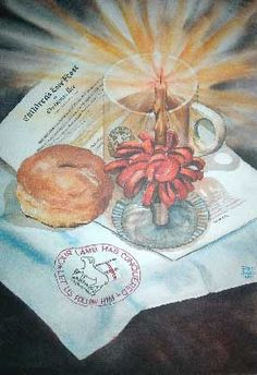 Lovefeast: painting    This is a painting of the items that may make up a Moravian Lovefeast - coffee, candle and bun.    This was painted by Fred Bees in 1980 and can be found on the website images.google.com/imgres?imgurl=http://letsget.com/art_su...