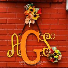 Metal Monogram in a Fall theme  #Metal #Monogram #Fall #harvest #burlap #burlapribbon #Sunflower #sunflowers #Doorhanger #doordecor #dior #custom