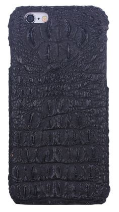 iCASEIT Genuine Leather iPhone Case - Genuine, Unique & Premium for iPhone 6 - Crocodile Head Pattern - MELANITE