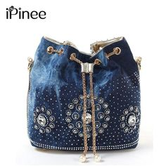Cheap bags with, Buy Quality bag ladies directly from China bucket bag Suppliers: Women denim bag with rhinestones handbag with chain handle summer beach small shoulder bag ladies cluthes handwoven bucket bagNew bucket bag women diamond rhinestone je Cheap Purses, Cheap Bags, Purses And Bags, Denim Handbags, Quilted Handbags, Denim Purse, Popular Handbags, Bohemian Accessories, Summer Handbags