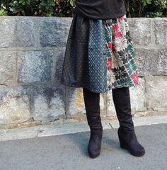 着物リメイク◇銘仙◇ギャザースカートの画像2枚目